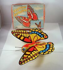 Vintage MECHANICAL FLAPPING BUTTERFLY Tin Toy w/BOX Japan Yone Litho Wind Up