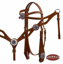 WESTERN HORSE CRISS CROSS TOOLED BRIDLE HEADSTALL BREAST PLATE COLLAR MEDIUM