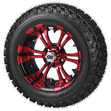 """Set (4) red blue white 14"""" Golf Cart Car Wheels & 23 All ATX Trail Terrain Tires"""