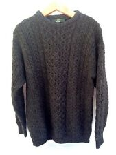 Orvis Mens Large Gray Wool Fisherman Cable Knit Sweater Ireland Brown