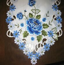 "Cutwork Blue Rose Table Runner  13"" x 72""  White, blue NEW"