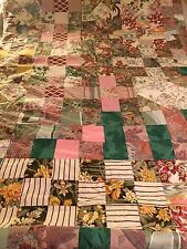 """Vintage homemade Single Patchwork Quilted Bedspread Bed Cover Throw  84"""" x 54"""""""