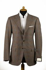 New CARUSO Wool-Cashmere Jacket Sport Coat Blazer Brown Plaids Checks 38US 48EU