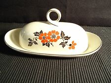 Hall RED POPPY Pattern RINGS BUTTER Dish Tray ~ Quarter Pound ~ Mint