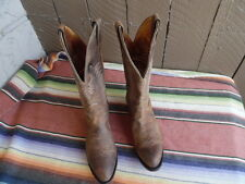 Men's Boulet 1828 Distressed Oil Tan Brown Western Cowboy Boots 9 1/2 D (f465)