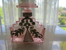 Pink Vtg Czech Perfume Bottle with Gems