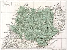 1923 mappa della Scozia: Sutherland, ready-mounted antico stampa SUPERBA