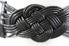 D04 Oriental Knot Braided Black Stretch Cinch Belt One Size Boutique
