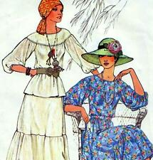 "Vintage 70s PEASANT BLOUSE & SKIRT Sewing Pattern Bust 36"" Sz 12 RETRO Evening"