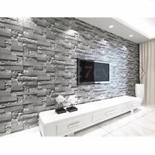 10M Rustic Stone Brick Slate 3D Grey White Home Wallpaper Wall Paper Vinyl Decor