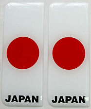 2x Japan Full Flag - Gel Domed Number Plate Badges/Decals 107x42mm