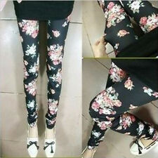 Rose Flower Print Womens Ladies Girls Stretch Leggings Cotton Slim Pants New