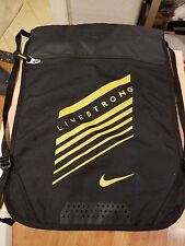 New Nike Livestrong draw string backpack w/ Zipper & Athletic bag sack
