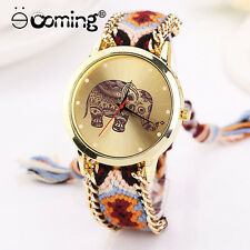 Fashion Casual DIY Elephant Women Dress Watches Gold Bracelet Quartz Wristwatch