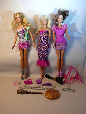 3 Barbie Art Designer Doll Bundle Dolls Pink Dress Shoes Accessories