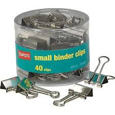 "Staples Satin Silver Metal Binder Clips Small - 3/4"" Width, 3/8"" Capacity 40/Pk"