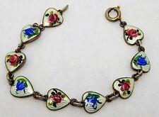 Sterling vintage Bracelet Finn Jensen by OPRO Guilloche enamel Heart jewelry