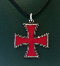 RED IRON / KNIGHTS TEMPLAR CROSS NECKLACE / PENDANT  ENAMEL INLAY ON PEWTER.