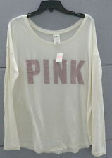 PINK Victoria's Secret Long Sleeve Tee Shirt Top Scoop Neck Ivory MED NWT