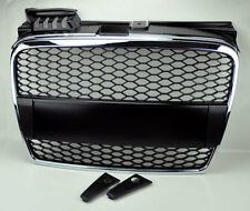 Audi A4 06-08 B7 RS Style Chrome & Matte Black Mesh Front Hood Bumper Grill