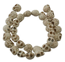 Skull Beads White Ivory Howlite 12mm Gothic Beads Skulls Full Strand