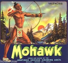 ORANGE COUNTY CRATE LABEL MOHAWK INDIAN ARCHERY VINTAGE AMERICAN 1930S ORIGINAL