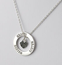 """Elegant Charming Silver Plated Chain Necklace""""Sister,I Love You""""Pendant BFF Gift"""