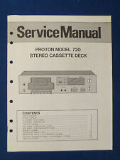 PROTON 720 CASSETTE DECK SERVICE MANUAL ORIGINAL FACTORY ISSUE GOOD CONDITION