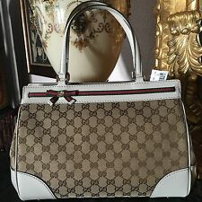 Gucci Signature 'GG' Fabric Mayfair Satchel/Tote Bag with Leather Trim bow $1480