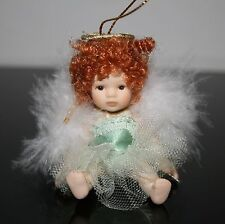 Petite Porcelain Red Haired Doll Angel Doll Ornament Full Body  Box 26d