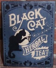 Primitive witch sign Black cat Herbal Tea witchcraft witches Halloween folk cats