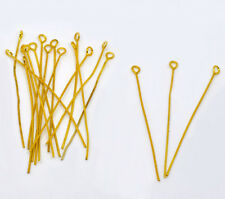 100 x Gold Plated Eye Pins Jewellery Craft Findings - 50mm LB01661