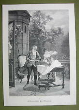 CHESS GAME Interrupted by Wind Gust - VICTORIAN Era Print
