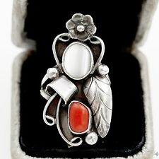 Antique Vintage Sterling Silver Native Navajo Coral Mother of Pearl Ring Sz 6
