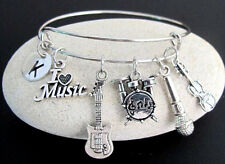 Musician Gift Personalized Bangle Bracelet Microphone,Violin,Drum Music Bangle