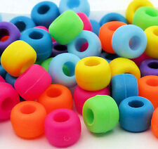 100 Bright Matte Pony Beads Pink Blue Green Yellow Orange Loom Bands Dummy Clips