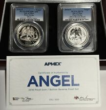 2016 PCGS PR70 FS Isle of Man PROOF & REVERSE Silver Angel 2-Coin Set - #010/500