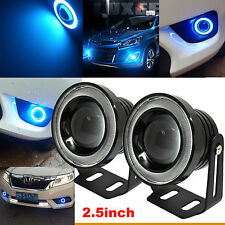 "2x 2.5"" Car COB LED Fog Lights Projector Ice Blue Halo Angel Eyes Ring DRL Bulbs"