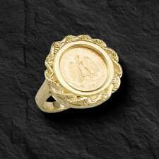 14K Yellow Gold 19 MM COIN RING with a MEXICAN DOS PESOS Coin