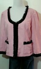 NEW INC PINK TWEED LACE TRIM BLAZER JACKET LARGE L 14-16 3/4 SLEEVES