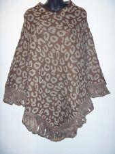 Poncho Sweater Fits S M L XL 1X 2X Plus Brown Gray Leopard Print Knit Fringe NWT