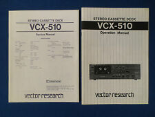 VECTOR RESEARCH VCX-510 CASSETTE SERVICE & OWNERS MANUALS (2) ORIGINAL GOOD COND
