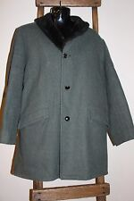 MEN'S~Vintage~GREAT WESTERN~Green Wool~DRESS COAT~Faux FUR Collar/Lining~Size 42