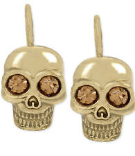 BETSEY JOHNSON Skeletons After Dark Goldtone Skull Drop Earrings