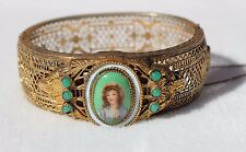 60s AUSTRO HUNGARIAN Filigree Hinged Bangle Bracelet LADY PORTRAIT JADEITE GLASS