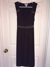 USED MOTHERHOOD MATERNITY DRESS SZ S SMALL BROWN BEADED SO CUTE FORMAL