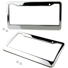 2PCS Slim Chrome Stainless Steel License Plate Frame Car Truck Auto Cover Screw