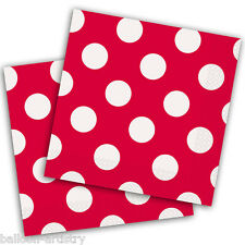 16 RED White Polka Dot Spot Style Party Disposable 33cm Paper Napkins