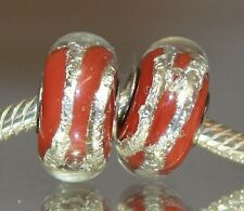 Silberfolie Rot Red Race Murano Glas Bead 925 Sterling Silber European Beads