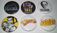 6 Cult US TV button badges Taxi Cheers Frasier Seinfeld Curb your Enthusiasm
